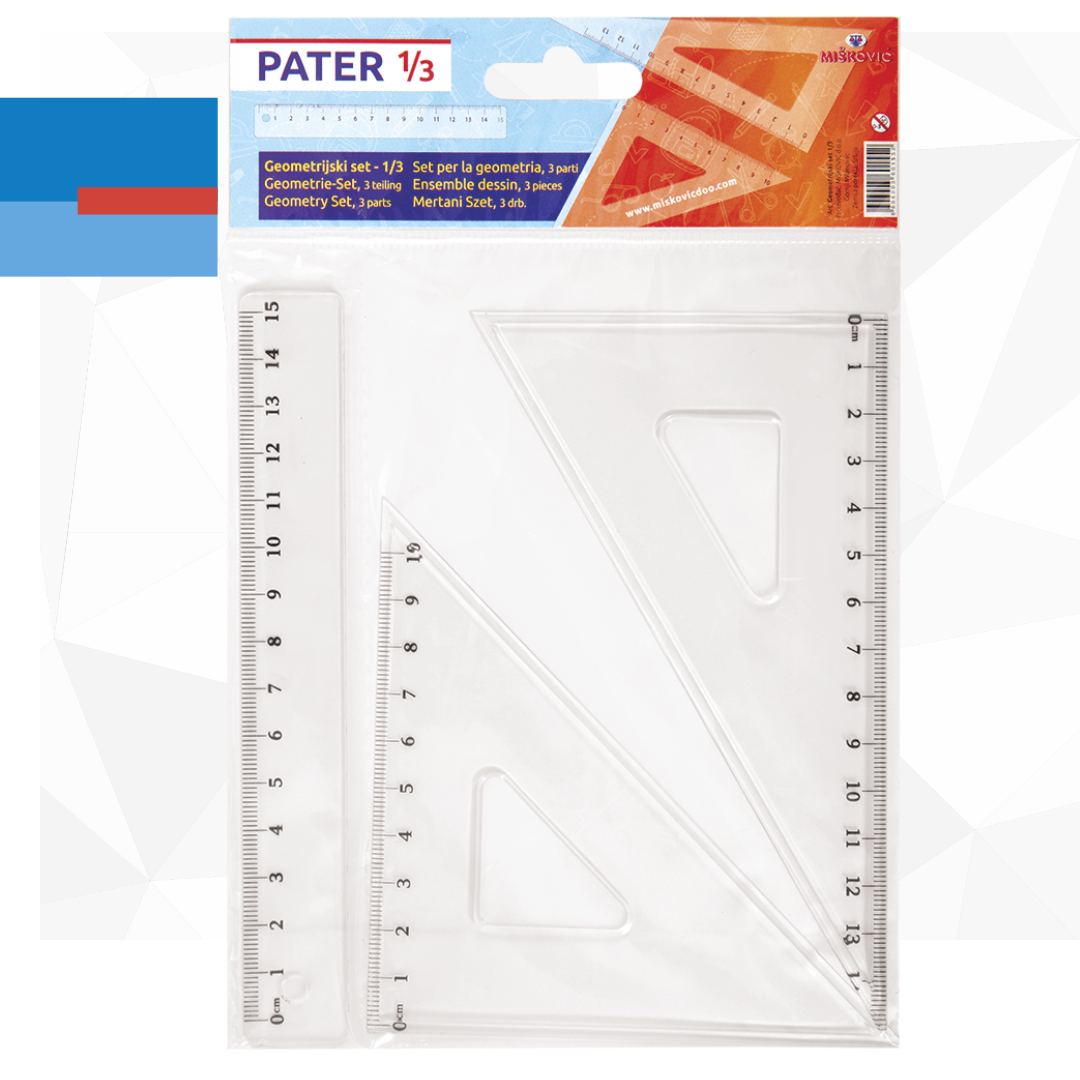 Školski set plastičnih lenjira PATER 13