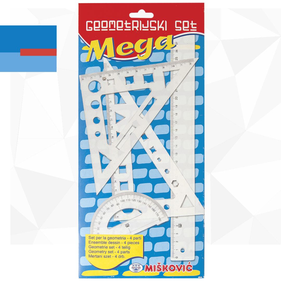 Školski set plastičnih lenjira ueko pakovanju 1/4 MEGA