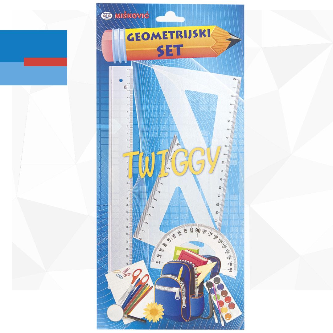 Školski set plastičnih lenjira ueko pakovanju 1/4 TWIGGY